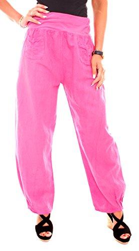 Damen Sommer Freizeit Leinen Stoff Pluder Hose Leinenhose Lang Weit Stretchbund Einfarbig Pink 42/XL