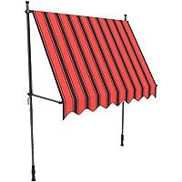 paramondo Toldo enrollable, Toldo para balcón JAM, 2 x 1,5 m, estructura color antracita, tela color multi naranja (a rayas)
