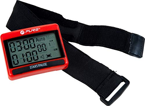 Pure 2Improve Unisex – Erwachsene Pure Interval Training Timer, Schwarz/Rot, 1
