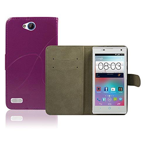 ZTE Kis 3 Max Premium Leder Flip Case - Violett Pu Leder SchutzHülle Brieftasche Case Für ZTE Kis 3 Max - thinkmobile