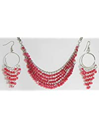DollsofIndia Magenta Sequined Jhalar Necklace With Earrings - Acrylic And Metal (FY45-mod) - Magenta