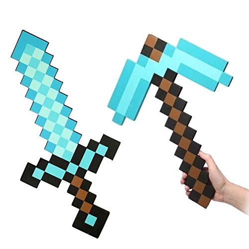 Flourishing Minecraft Blue Diamond Sword & Pickaxe set