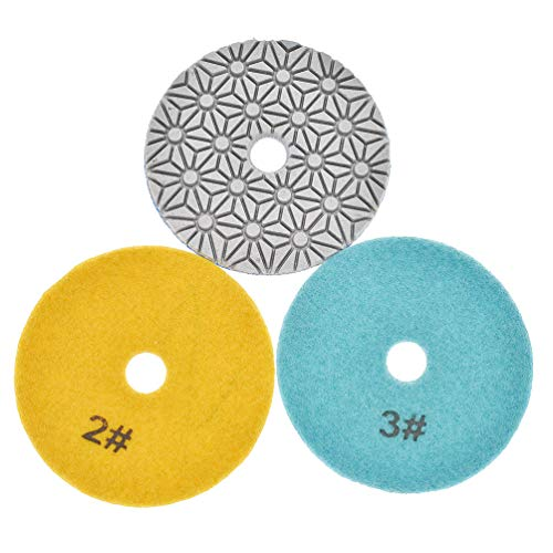 Kesheng 3x Diamant Polierscheiben Schleifscheiben für Granit Stein Marmor Durchmesser 10cm