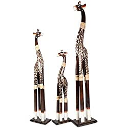 De madera, diseño de jirafas juego de 3100cm 80cm 60cm de madera jirafa África Animal figura decorativa Decoración del hogar Escultura