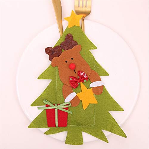 or Messer Gabel Tasche Cute Old Man Schneemann Elk Cover Case Geschirr Halter Weihnachtsschmuck, Tuch, Elch ()