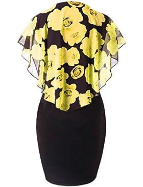 Vestito elegante da donna, Donna Estate Vestiti Moda con Stampata Rosa Taglia Forti in Chiffon Vestiti con scollo...