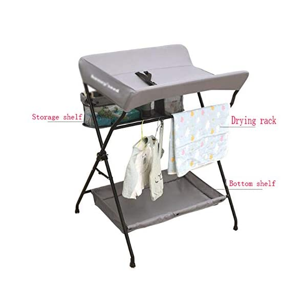 Baby Changing Table Baby Storage Bath Tub Unit Station Dresser Foldable Cross Leg Style AA-SS-Baby Changing Table 【Two in One Design】This baby changing table can be used as baby massaging table as 【Stable Construction】Non-skid feet covers and a sturdy frame keep the table stable and prevent movement. 【Waterproof Material】The surface of the top table is made of durable and wearable Oxford cloth and it can be used for a long period. 5