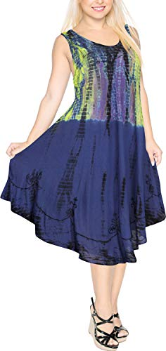 LA LEELA kurzes Strandkleid hawaiische tie dye Frauen bestickter Partyurlaub lässig Mini Blau_Y484 DE Größe: 42 (L) - 50 (3XL) -