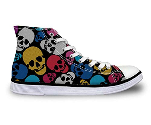 New Cool Skull Fashion Women's Canvas Shoes High Top Casual Sneakers Lady Shoes 9 Multi Skull 8 Carlyle China