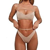 Sophieer Bikini Beachwear for Women Spaghetti Strappy Cropped Tank + High Wasit Cheeky Bottom Two Pieces Swimming Outfit Khaki M
