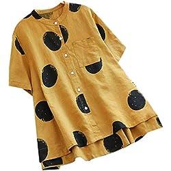TUDUZ Blusas Mujer Manga Corta Verano Botón de Cuello Redondo con Estampado de Lunares Vintage Camisas Camisetas Moda 2037 (Amarillo, XXXXL)