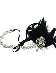 Frcolor Schwarze Feder Kopfschmuck Flapper Stirnband Gatsby Stirnband der 1920er Jahre für Fancy Dress Party Dress-Up Zubehör