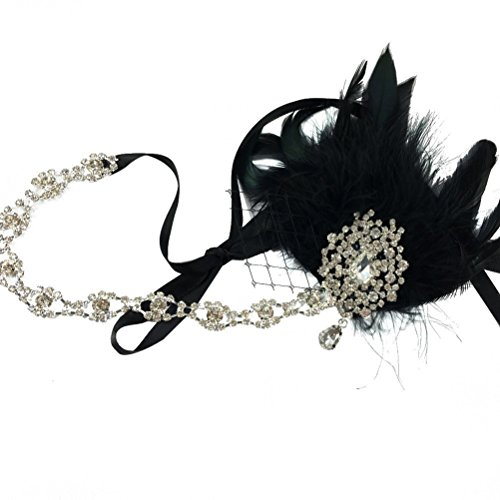Frcolor Schwarze Feder Kopfschmuck Flapper Stirnband Gatsby Stirnband der 1920er Jahre für Fancy Dress Party Dress-Up (1920 Flapper Mode)