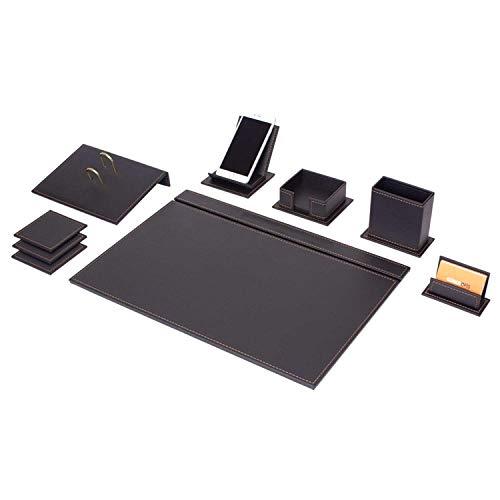 Lussodor Vega Elegante 9 parti Sottomano Scrivania Set con portacellulare, portablocco per appunti, portapenne e 2 opzioni di cucito (bianco o marrone) in nero