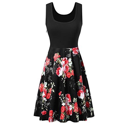 Frauen-Weinlese-O Ansatz druckte Midi-Kleid Sleeveless A-line Cocktailpartykleid Elegant Kleid aus Spitzen Damen Ärmellos Unregelmässig Cocktailkleider Party Ballkleid