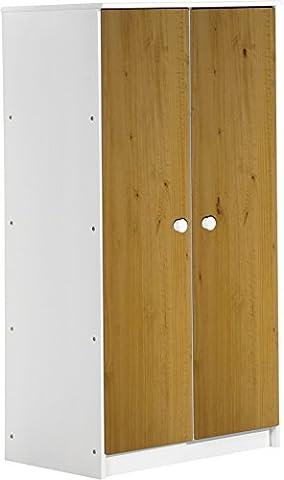 """Design Vicenza """"Avola"""" Zwei Tür Schrank, Holz, Weiß mit Kiefer antik Details"""