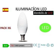 Pack 6 Bombillas LED C37, 7W,(equivalente a 70W), casquillo E14, 560 lumen, luz fría 6400K(no regulable)