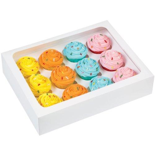 Wilton 23x 19x 5cm (9,2x 7,5x 2) 12Loch Mini-Muffin-Box mit dem Fenster, DREI Pack-Weiß.