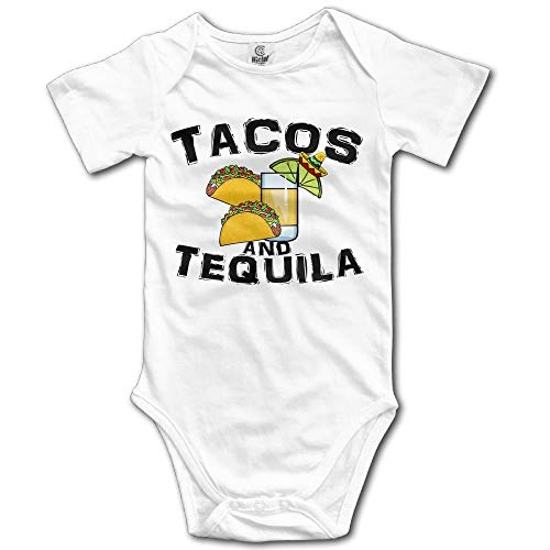 TKMSH Taco and Tequila Boy's & Girl's Short Sleeve Romper Bodysuit Outfits White