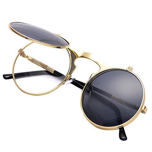 COASION Gafas de sol redondas estilo vintage estilo John Lennon para h