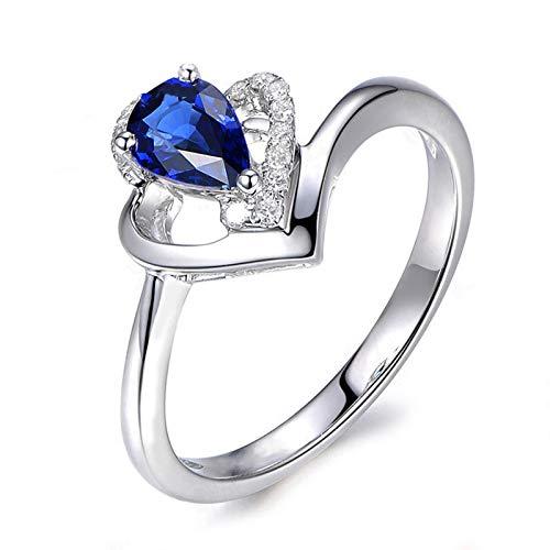 Anello fidanzamento donna argento 925 blu zirconi fedine fidanzamento in argento misura 16