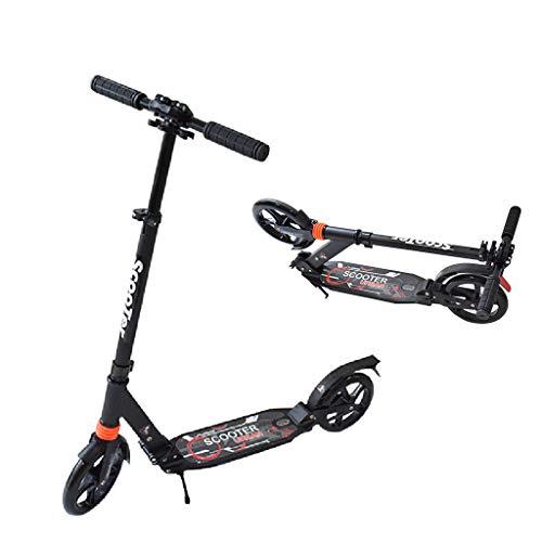 Unbekannt Big Wheel Bold Cushion Tret-Roller mit Stoßdämpfung, Big-Wheel, Cityroller,Tret-Roller für Kinder Teenager Schule Erwachsene bis 80 KG, Schwarz