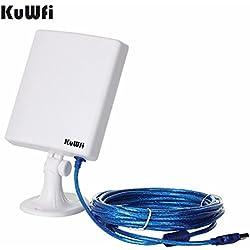 KuWFi Adaptateur réseau WiFi extérieur à longue portée, antenne à gain élevé Antenne 14dBi Câble adaptateur USB sans fil signal stable provenant de l'extérieur