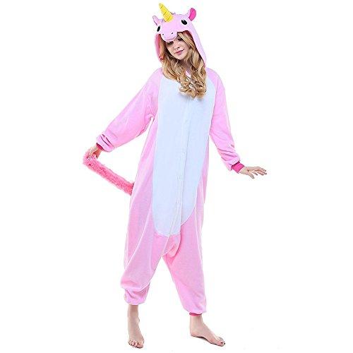 Einhorn Kostüm Pyjamas Tierkostüm Schlafanzug Verkleiden Cosplay Kostüm zum Karneval Fasching, pink Pferd, Gr. M (Einfache Einhorn Kostüm)