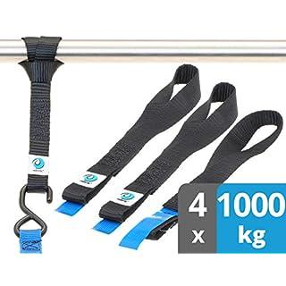 valonic Zurrschlaufen | 1t nach EN-12195-2 | schwarz | 4 Stück | 30cm lang | 25mm breit | Doppelschlaufen für Motorrad | Bike-Lashing | Gurtschlaufen | 1000kg