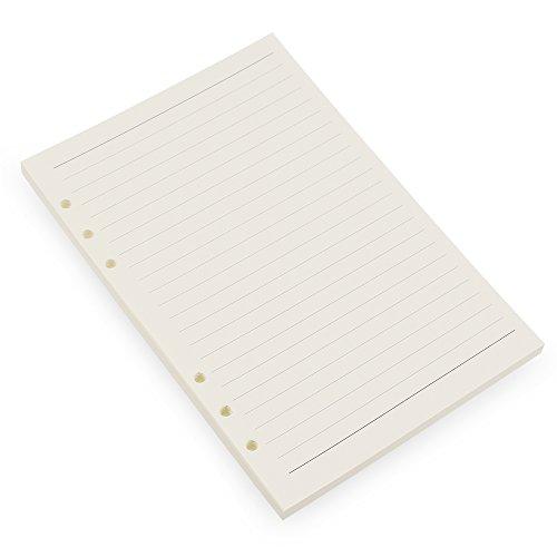 6-Ring-A5Binder/Planer Refill Papier, 6Loch, 81/4x 55/20,3cm nachfüllbar weiß Papier für Loose Leaf Binder Notizbuch Diary Traveler Tagebuch fügt, 80Blatt/160Seiten, blanko Lined White Paper (3-ring-planer Binder)