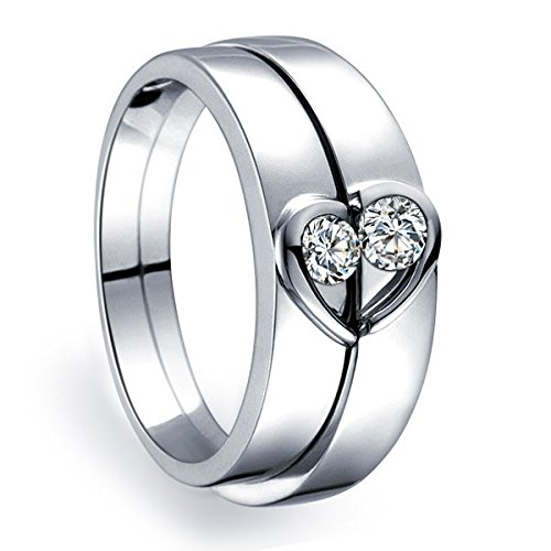 unique-heart-shape-couples-matching-wedding-band-rings-on-10k-white-gold