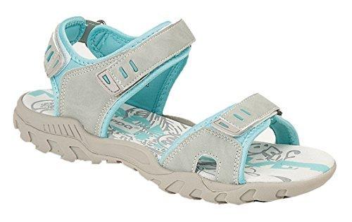 PDQ Damen Sport Wandern Klettband Flache Sandale Size 4-8 Marineblau - Grau, 3 UK (3 4 Klettband)
