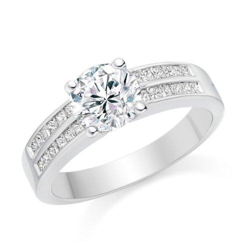 Diamond Manufacturers, Damen Verlobungsring mit 0.73 Karat G/VS1 feinem und zertifiziertem Runddiamant in Platin - 2