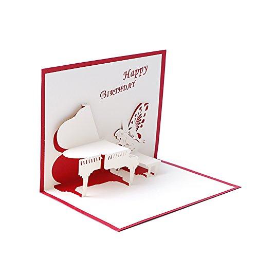 amrka 3D Pop up Piano Angel Grußkarte handgefertigt Geburtstag Valentine Weihnachten Hochzeit Einladung