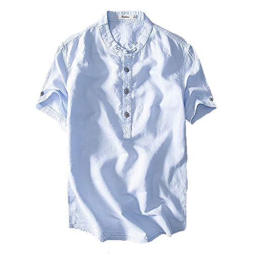 Beonzale Herren Causal Shirt Kurzarm Top Button Baumwolle Leinen Einfarbig Lose Bluse Tees Shirt Kurzarm T-Shirt Bluse White Linen Cropped Pants