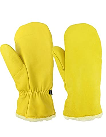 Ski Mittens, OZERO -40ºF Cold Proof Thermal Skiing Glove for Men & Women - Sheepskin Shell and Thick Thermal Cotton - Water Resistant & Windproof & Breathable - Yellow - M