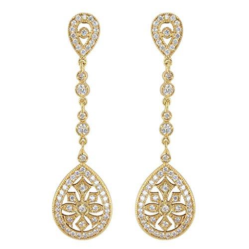 EVER FAITH® CZ österreichischen Kristall Art Deco Kronleuchter Form elegant Braut Ohrring Anhänger Klar Gold-Ton (Modeschmuck Art Antike Deco)