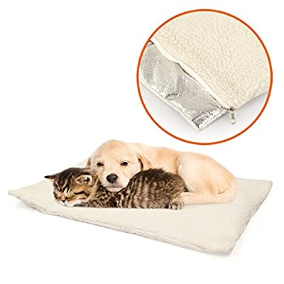 Petlicity ® Self Heating Pet Bed – Super Soft Non Slip Sheepskin Self Warming Cushion Mat for Cats Dogs Small Pets with Thermal Warming Body Heat Reflecting Core Pad and Washable Zipped Fleece Cover by Petlicity