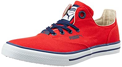 Puma Unisex Limnos CAT 3 DP High Risk Red, White and Peacoat Canvas Sneakers - 4 UK