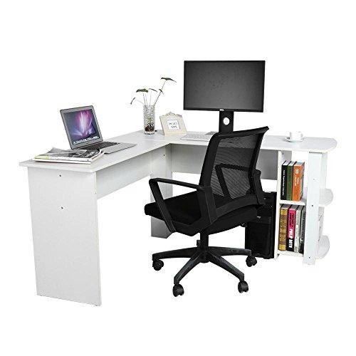 Zerone Mesa para Oficina (Madera Escritorio Esquina, Mesa para Computer Oficina estación de Trabajo Blanco