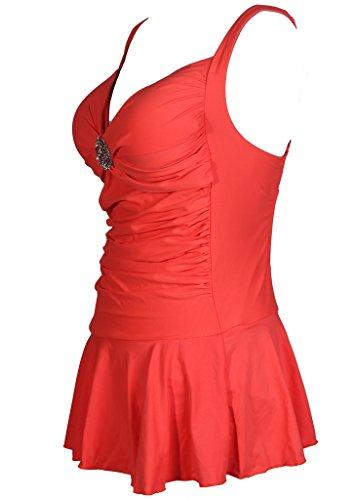 HENGJIA Maillot De Bain Femme 1 Pièce Sexy Push Up Gainant Amincissant à Col V Couleur Unie Orange