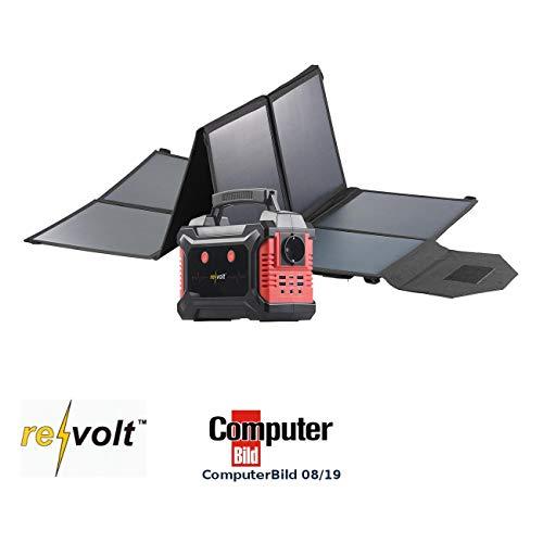reVolt Solar-Batterie 12V: Solar-Generator & Powerbank mit faltbarem 100-Watt-Solarpanel, 60 Ah (Ladestation Universal)