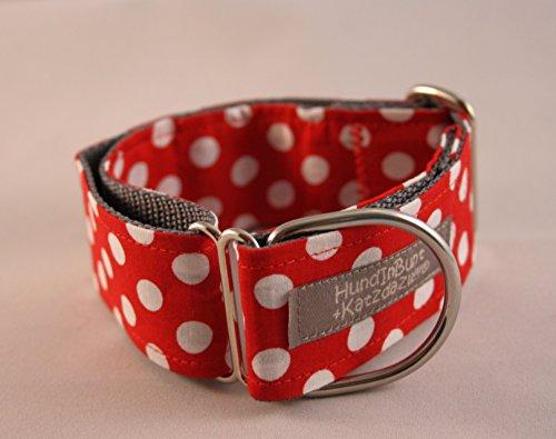 Hundehalsband Polkadots, Rot, mittel, Zugstopp mit Stoffbezug, versandfertig! -