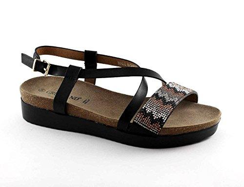 GRUNLAND METE SB0872 nero sandali donna cinturino pelle strass Nero