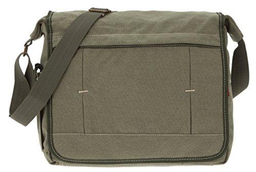 CININO Canvas Tasche XL DIN A 4 Canvastasche Reisetasche Freizeittasche Schultasche +Etui (Oliv Khaki) Oliv Khaki