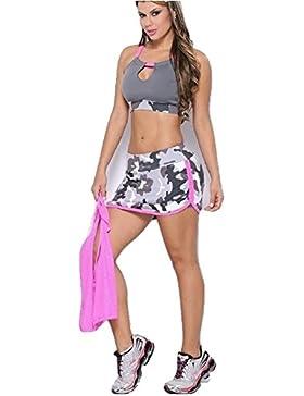 Nueva mujer 2piezas rosa y gris camuflaje Crop Top Micro Mini falda de fiesta Club Wear Festival playa tamaño...
