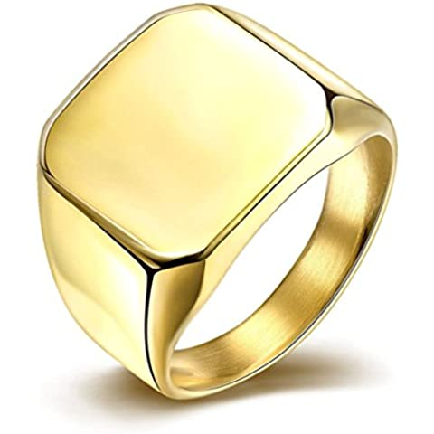 HMILYDYK in acciaio INOX lucido, Promise-Anello Eternity a fascia da donna, taglia: da 7 a (Oro Giallo Mens Wedding Band)