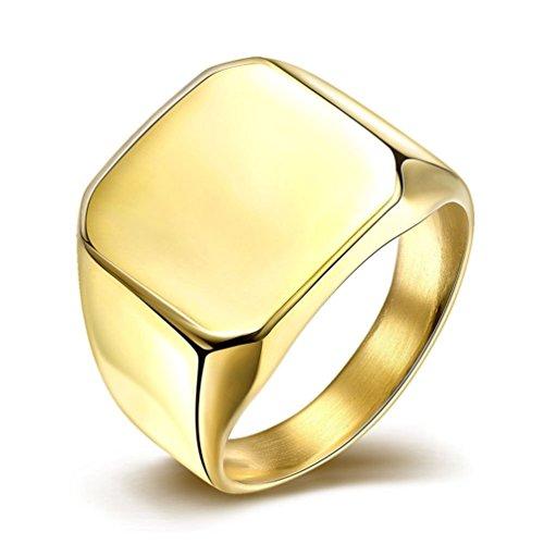 HMILYDYK-Acciaio inox lucido quadrato promessa matrimonio Eternity Anello a fascia Donna-Taglia 7-10, oro giallo, 61 (19.4), cod.