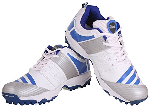 Proase Rubber Spikes Cricket Shoes (White/Blue) - Size 10  available at amazon for Rs.1199