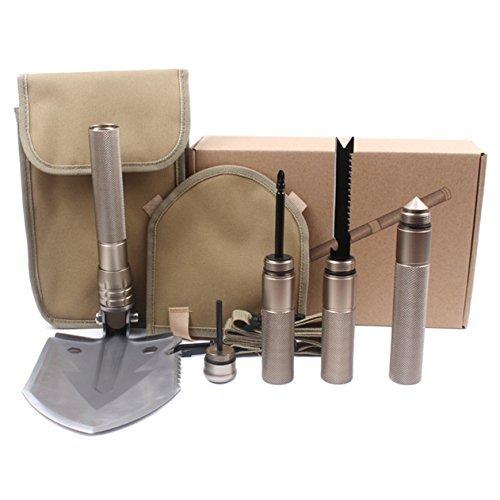 etelux Military Outdoor faltbar Schaufel, Army Survival-Werkzeug, mit Tasche, Extreme Garten Werkzeuge, Axt, Säge, Messer, mit Nylon Tasche [Golden]